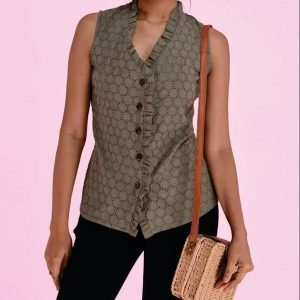 Cut-long Sleeveless Blouse