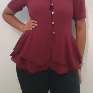 Double Frill Office Blouse